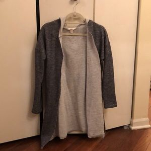 Gray sweatshirt cardigan with hood